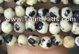 CTG1160 15.5 inches 3mm faceted round tiny dalmatian jasper beads
