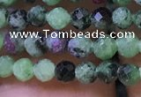CTG1180 15.5 inches 3mm faceted round tiny ruby zoisite beads