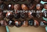 CTG1186 15.5 inches 3mm faceted round tiny red tiger eye beads