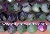 CTG1316 15.5 inches 4mm faceted round ruby zoisite beads