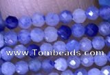 CTG1446 15.5 inches 2mm faceted round blue aventurine beads