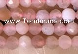 CTG1501 15.5 inches 3mm faceted round strawberry quartz beads
