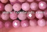 CTG1514 15.5 inches 3mm faceted round pink wooden jasper beads