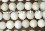 CTG1516 15.5 inches 3mm faceted round white fossil jasper beads