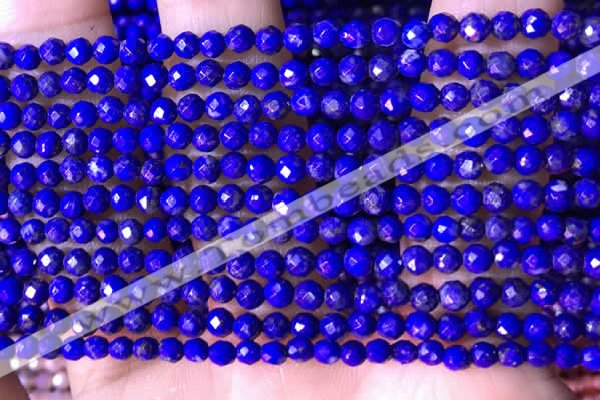 CTG1520 15.5 inches 3mm faceted round lapis lazuli beads