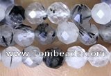 CTG1534 15.5 inches 4mm faceted round black rutilated quartz beads