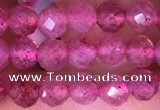 CTG1542 15.5 inches 4mm faceted round strawberry quartz beads