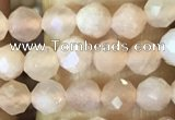 CTG1544 15.5 inches 4mm faceted round moonstone beads wholesale