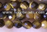 CTG1559 15.5 inches 4mm faceted round yellow tiger eye beads