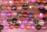 CTG1657 15.5 inches 2mm faceted round tiny tourmaline beads