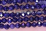 CTG1666 15.5 inches 2mm faceted round tiny blue goldstone beads