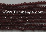 CTG201 15.5 inches 2.5mm faceted round tiny red garnet beads