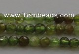 CTG219 15.5 inches 3mm faceted round tiny green garnet beads