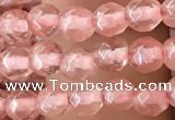 CTG2501 15.5 inches 4mm faceted round cherry quartz beads