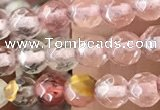 CTG2502 15.5 inches 4mm faceted round volcano cherry quartz beads