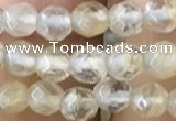CTG2503 15.5 inches 4mm faceted round yellow watermelon beads