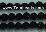 CTG32 15.5 inches 6mm faceted round black agate beads wholesale