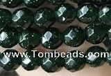 CTG3591 15.5 inches 4mm faceted round green goldstone beads