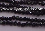 CTG501 15.5 inches 2mm faceted round tiny black spinel beads
