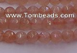 CTG507 15.5 inches 4mm faceted round tiny peach moonstone beads