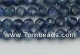 CTG557 15.5 inches 4mm faceted round tiny blue kyanite beads