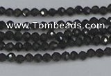 CTG641 15.5 inches 2mm faceted round golden black obsidian beads