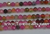 CTG652 15.5 inches 3mm faceted round tourmaline gemstone beads