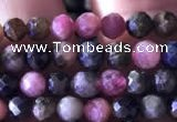 CTG726 15.5 inches 4mm faceted round tiny tourmaline beads
