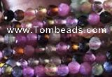 CTG729 15.5 inches 2mm faceted round tiny tourmaline beads