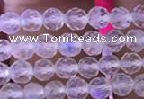 CTG835 15.5 inches 4mm faceted round tiny white moonstone beads