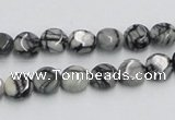 CTJ05 16 inches 8mm flat round black water jasper beads wholesale