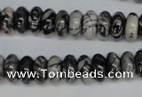 CTJ32 15.5 inches 6*12mm rondelle black water jasper beads wholesale