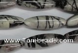 CTJ39 15.5 inches 10*30mm rice black water jasper beads wholesale