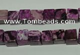 CTJ522 15.5 inches 8*8mm cube dyed purple jasper beads wholesale
