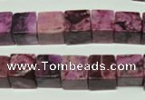 CTJ523 15.5 inches 10*10mm cube dyed purple jasper beads wholesale