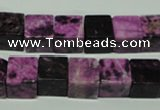 CTJ525 15.5 inches 10*10mm cube dyed purple jasper beads wholesale