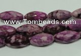 CTJ540 15.5 inches 8*16mm faceted rice dyed purple jasper beads