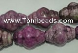 CTJ545 15.5 inches 16*22mm carved rice dyed purple jasper beads