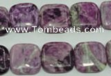 CTJ555 15.5 inches 16*16mm square dyed purple jasper beads
