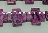 CTJ578 15.5 inches 20*20mm cross dyed purple jasper beads