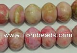 CTJ614 15.5 inches 12*16mm rondelle dyed fuchsia jasper beads