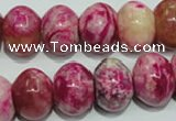 CTJ615 15.5 inches 12*16mm rondelle dyed fuchsia jasper beads