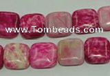CTJ622 15.5 inches 12*12mm square dyed fuchsia jasper beads