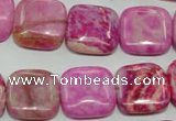 CTJ624 15.5 inches 16*16mm square dyed fuchsia jasper beads