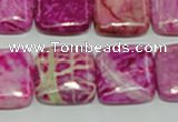 CTJ625 15.5 inches 18*18mm square dyed fuchsia jasper beads