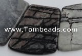 CTJ75 Top drilled 20*25mm - 26*32mm trapezoid black water jasper beads