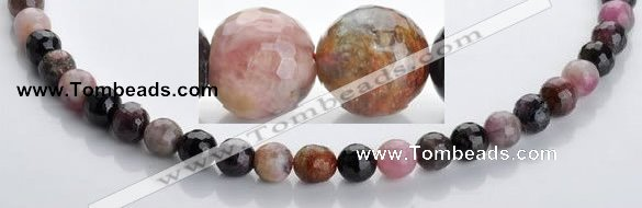 CTO02 multicolored 8mm  faceted round natural tourmaline beads