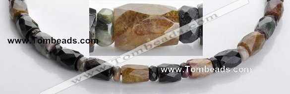 CTO09 faceted column & roundel natural tourmaline bead wholesale