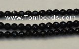 CTO106 15.5 inches 5mm faceted round natural black tourmaline beads
