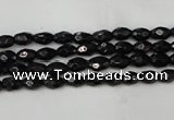 CTO115 15.5 inches 4*6mm faceted rice black tourmaline beads